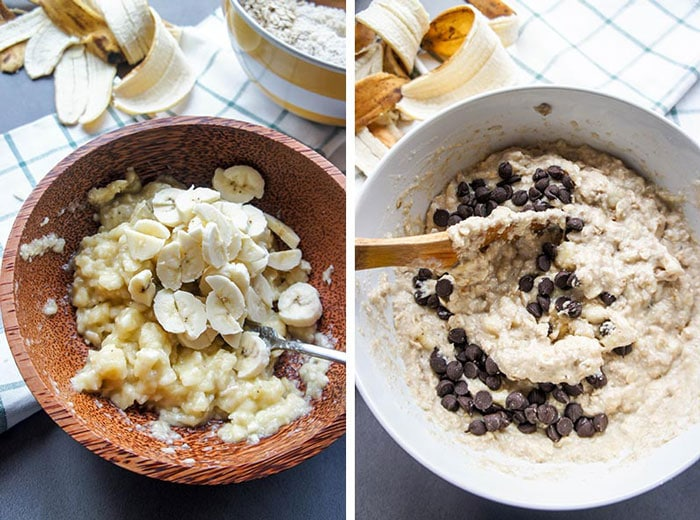 Two photos showing mashing how to mash the bananas, and then adding them to the oatmeal batter along with chocolate chips.