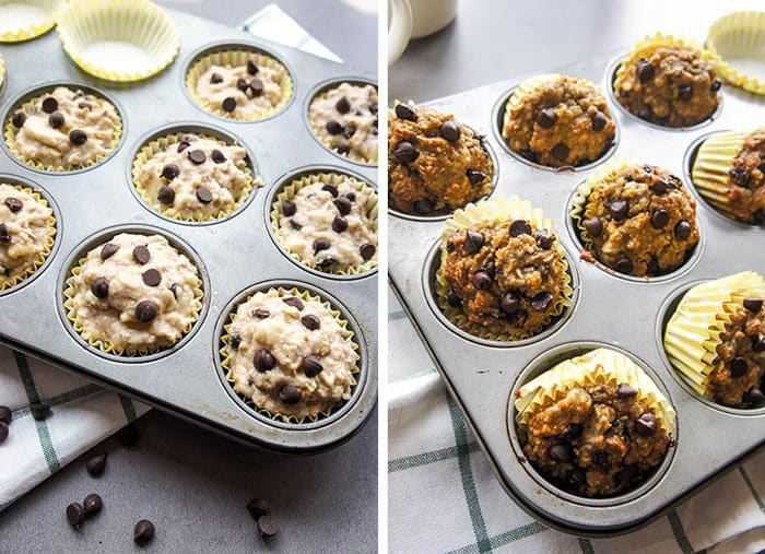 Showing how much to fill the muffins papers, and how to tilt them in the baking pan to allow them to cool.