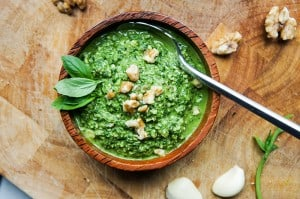 Lightened Up Basil Walnut Pesto