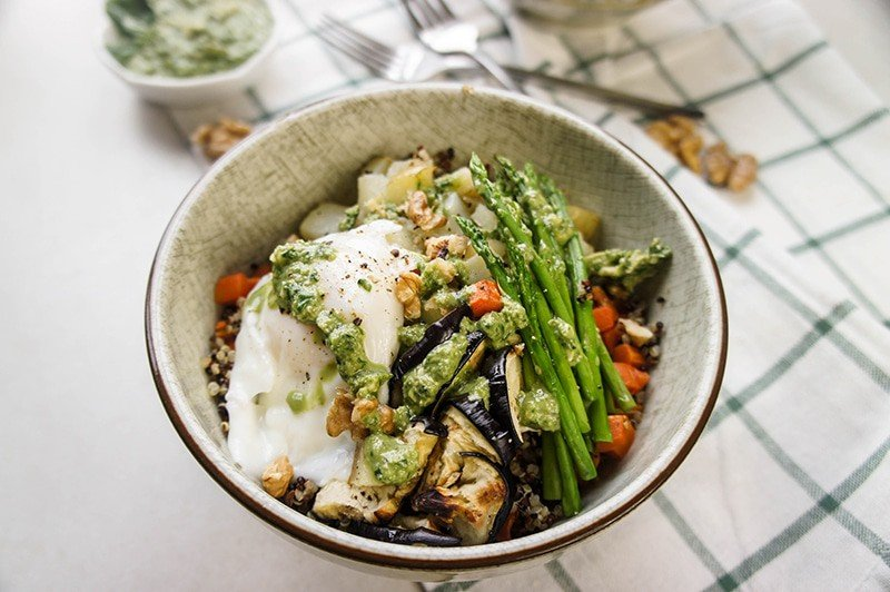 Roasted Veggie and Quinoa Pesto Bowls