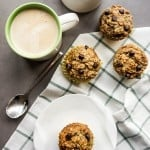 Oatmeal Banana Chocolate Chip Muffins / Oatmeal and almonds replace white flour to make a gluten free muffin bursting with nutrition for expecting and new moms.