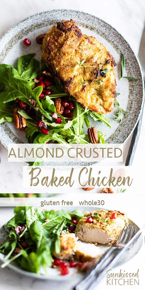 An almond crusted chicken breast shown with an arugula salad with pomegranate and pecans.