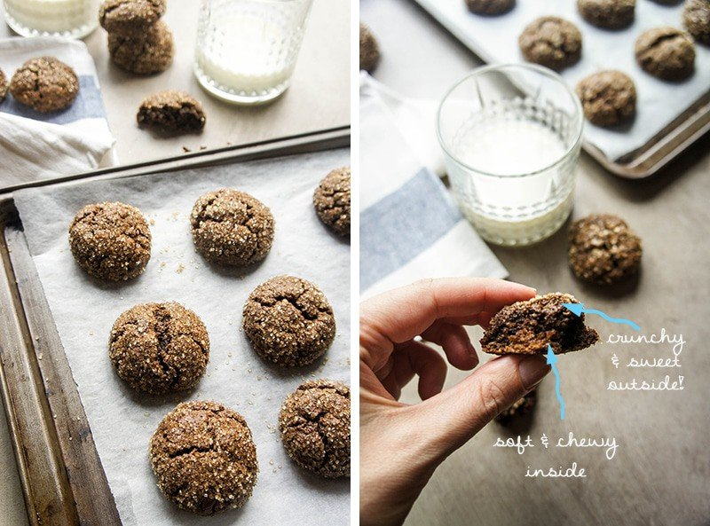 Ginger Sugar Cookies / A classic cookie made healthier by using whole oats and cashews, and less sugar than a typical cookie. So chewy and moist inside, no one will know!