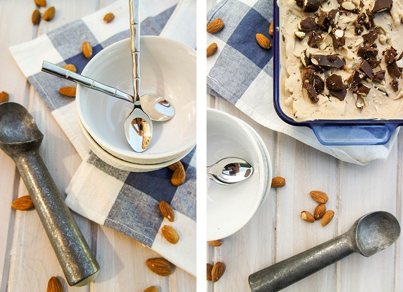 Two images showing bowls and an ice cream scoop, and the frozen yogurt topped with almond fudge.