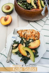 Peach and Avocado Kale Salad with Ginger Almond Vinaigrette