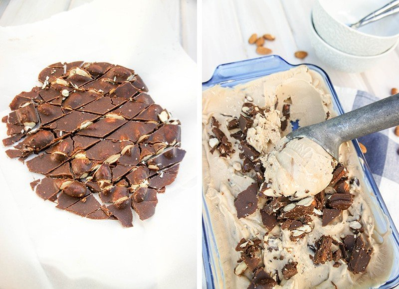 Showing how to make fudge in parchment paper, and then chop it up to add to the frozen yogurt recipe.