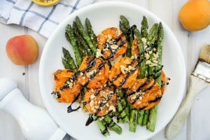 Grilled Asparagus and Apricots with Balsamic Glaze