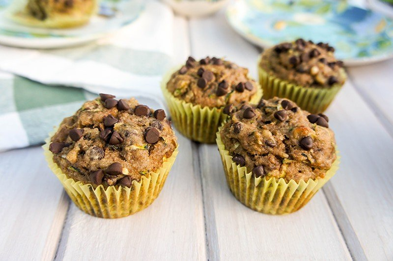 Buckwheat Zucchini Chocolate Chip Muffins / These gluten free, healthy buckwheat muffins are a great breakfast treat. Very low in sugar, and full of nutritious ingredients.