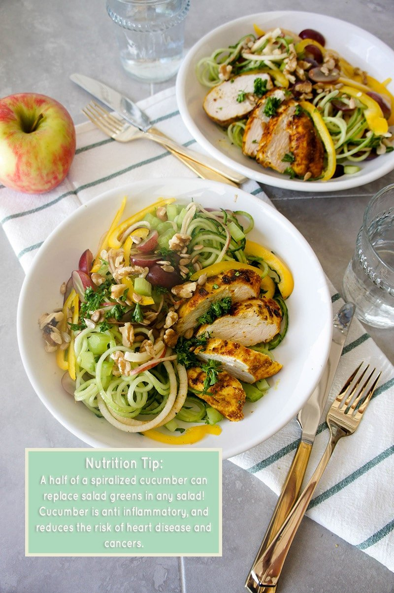 Cucumber Chicken Waldorf Salad / Spiralized cucumbers makes the delicious and fun base for this classic salad!