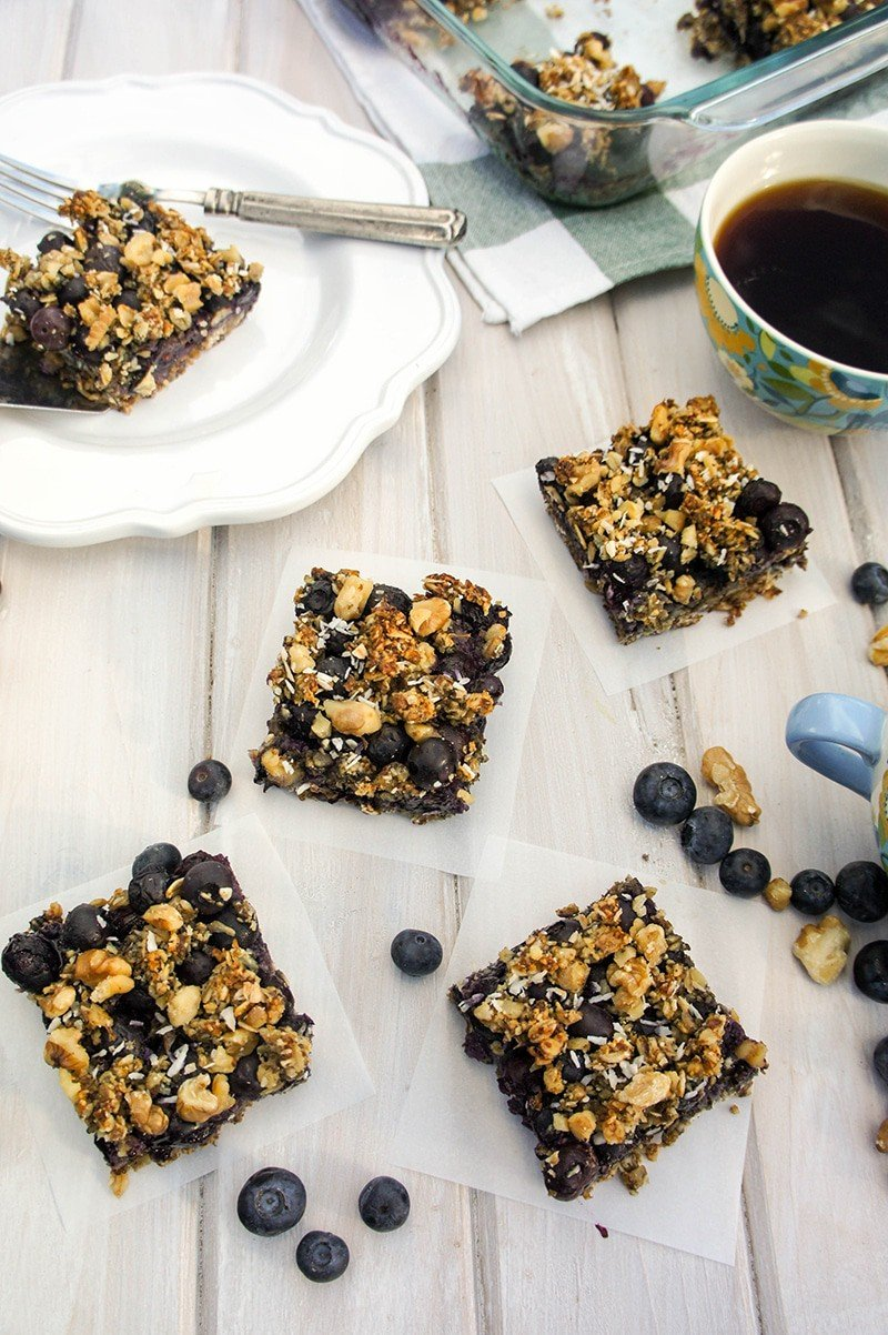 Blissful Blueberry Breakfast Bars / These sugar-free treats can certainly be dessert, but I love eating them for breakfast with a hot mug of coffee.