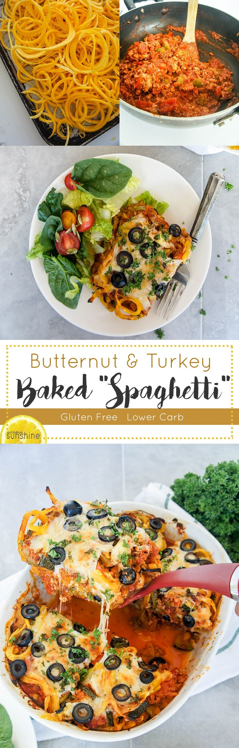 """Butternut and Turkey Baked """"Spaghetti"""" / This warming and healthy fall meal calls for spiralized butternut squash instead of noodles!"""