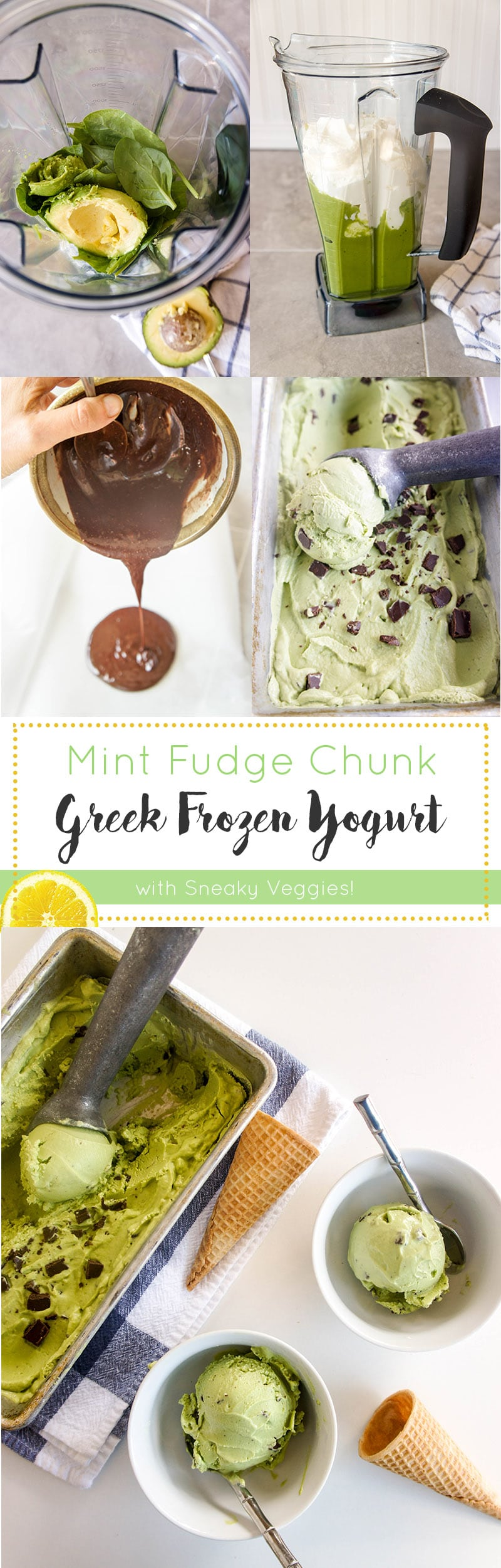 Mint Fudge Chunk Frozen Yogurt / This is no ordinary ice cream! Made with 2 green veggies and greek yogurt, it packs a serious nutritional punch!