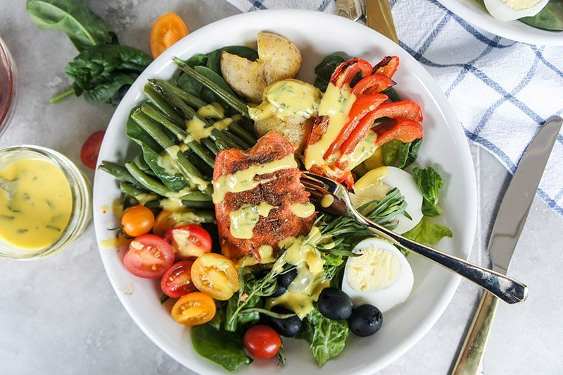 Blackened Salmon Nicoise Salad with Mango Tarragon Dressing