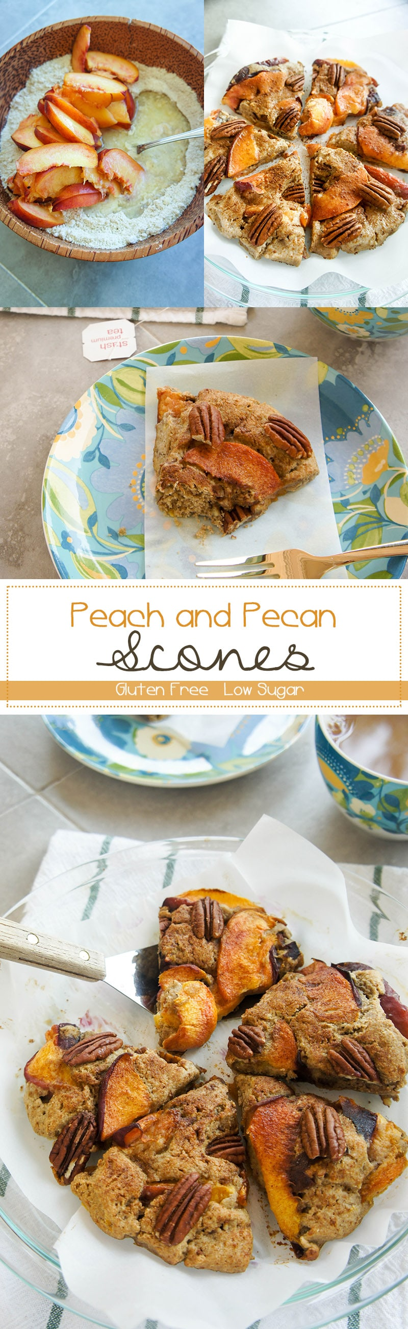 Gluten Free Peach and Pecan Scones / These flakey and tender scones are bursting with fresh peach flavor!