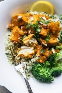 "Slow Cooker Moroccan Pumpkin Chicken with Cauliflower ""Couscous"""