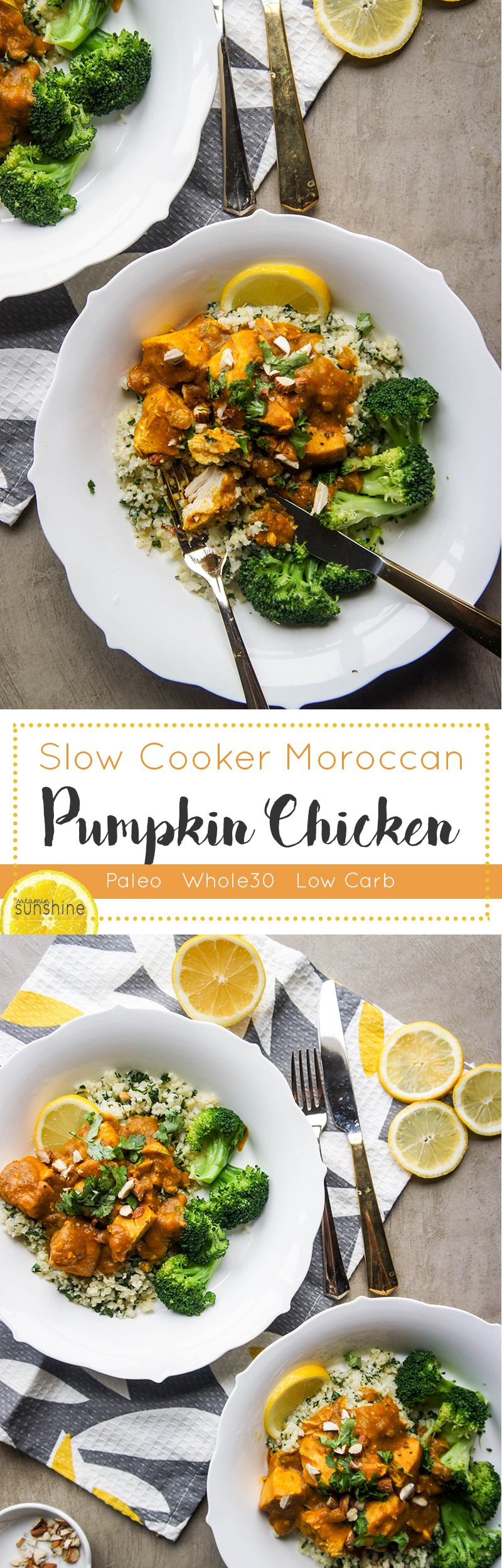 Slow Cooker Moroccan Pumpkin Chicken / Tons of flavor and spice, minimal work to have a comforting, healthy meal prepared!