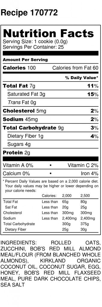 Zucchini Chocolate Chip Oatmeal Cookies - Nutrition Label