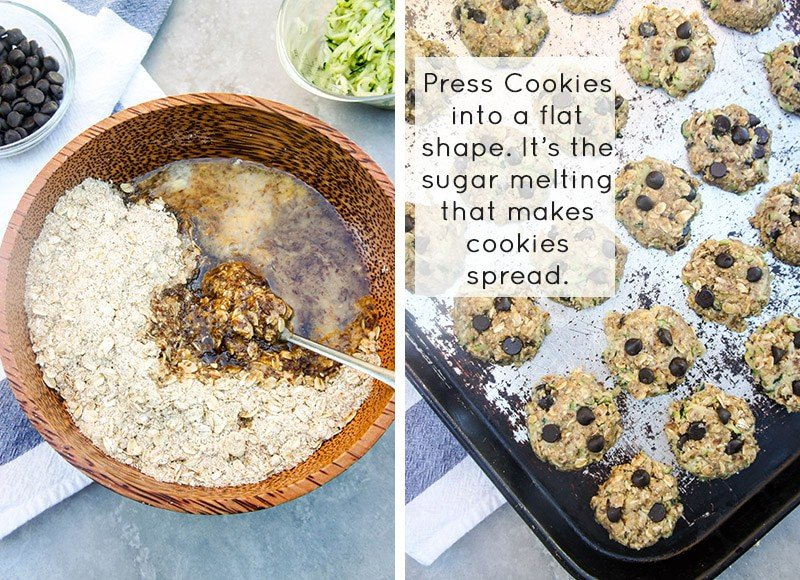 Zucchini Chocolate Chip Cookies / These gluten-free, low-sugar cookies are the perfect after school snack. Kid approved!