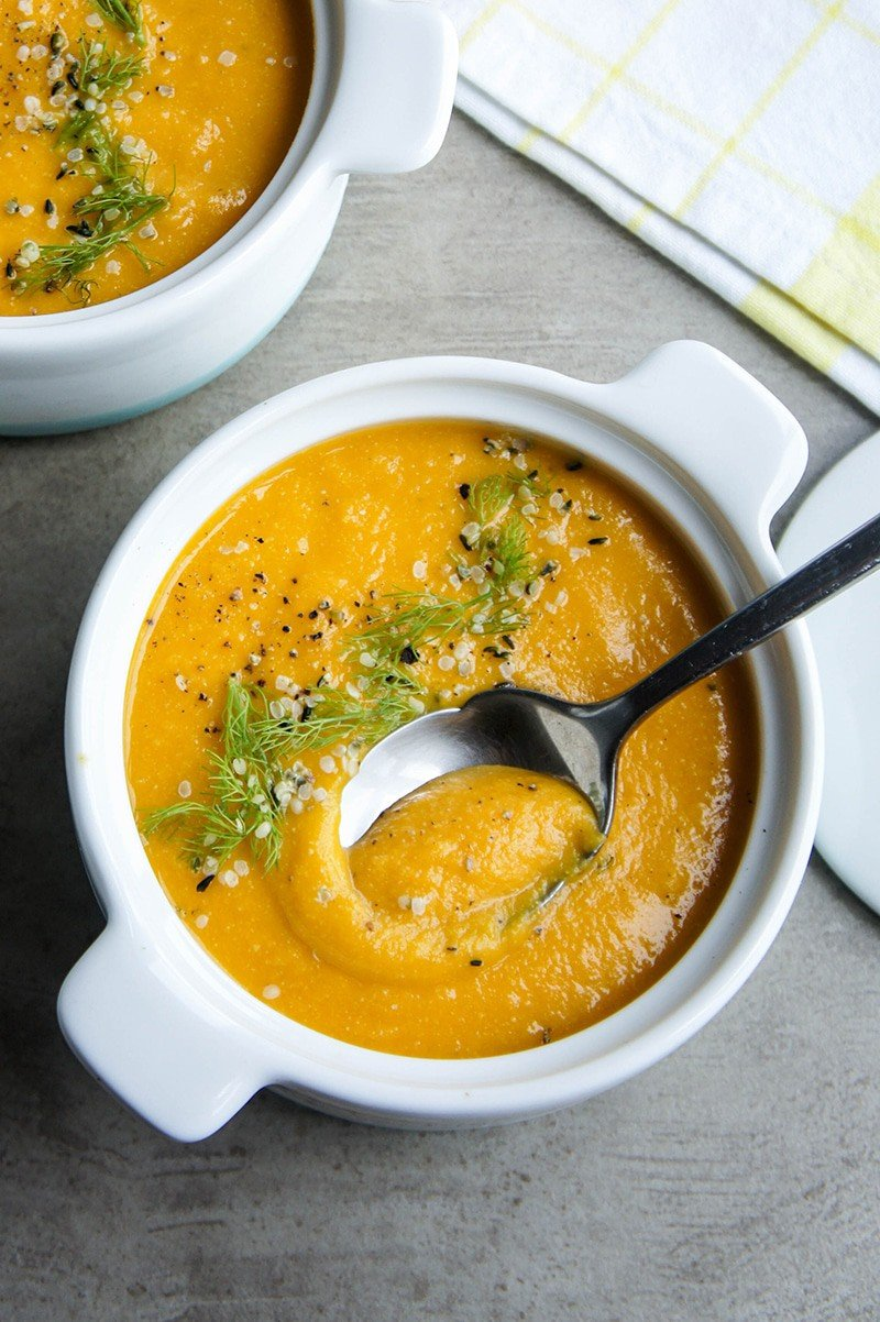 Carrot Apple Fennel Soup / This heart-healthy combo is as delicious as it is healthy. The perfect addition to a fall lunch or holiday dinner.