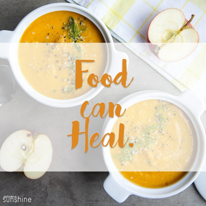 carrot soup with text overlay saying Food can Heal.