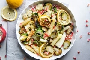 Lemon Parmesan Roasted Brussels Sprouts and Parnsips
