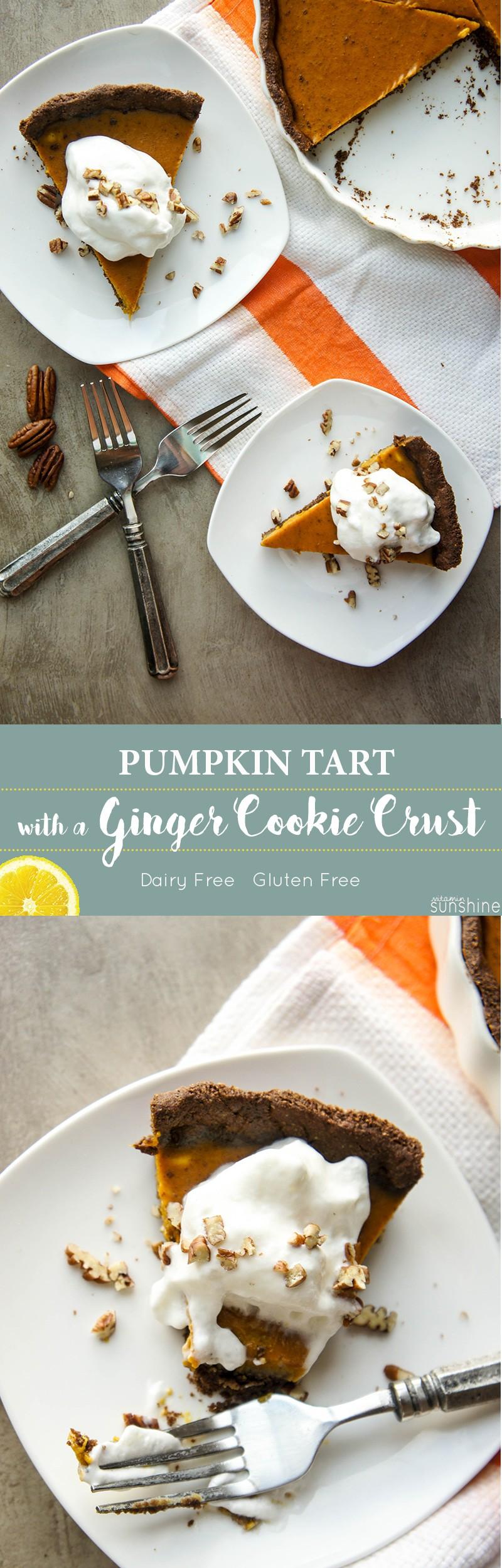 Pumpkin Tart with a Ginger Cookie Crust - Vitamin Sunshine
