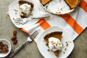 Pumpkin Tart with a Ginger Cookie Crust (Dairy Free, Gluten Free)