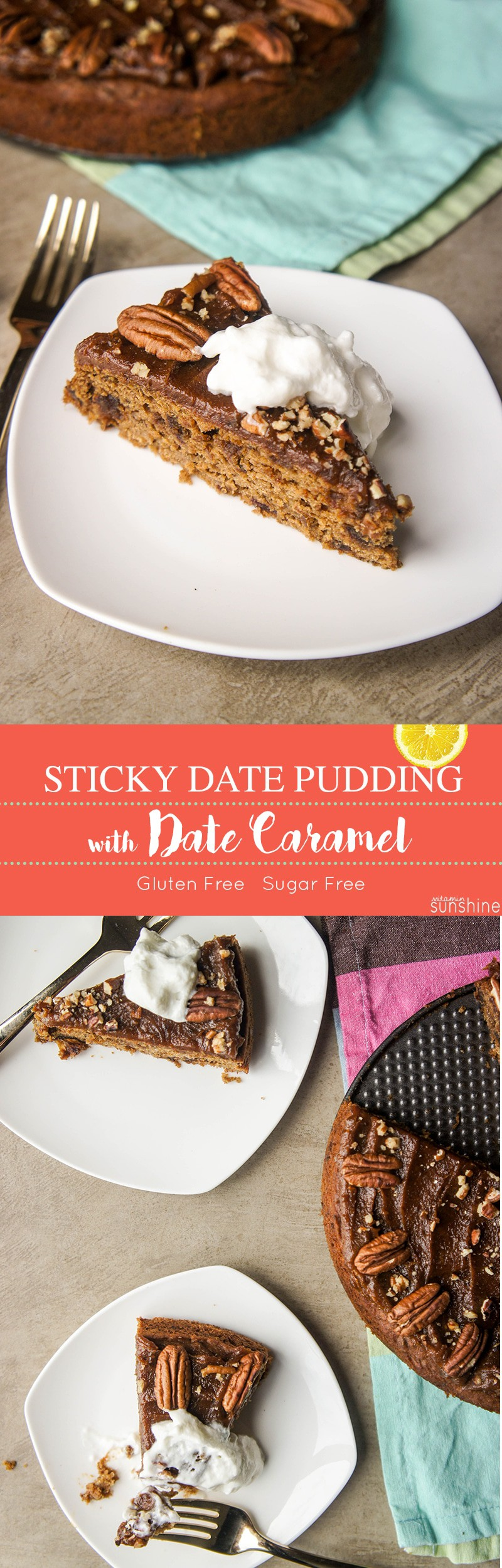 Sticky Date Pudding with Caramel Topping / This sugar free and gluten free treat tastes almost too good to be true! Sweet, moist, caramelly and subtly spicy.