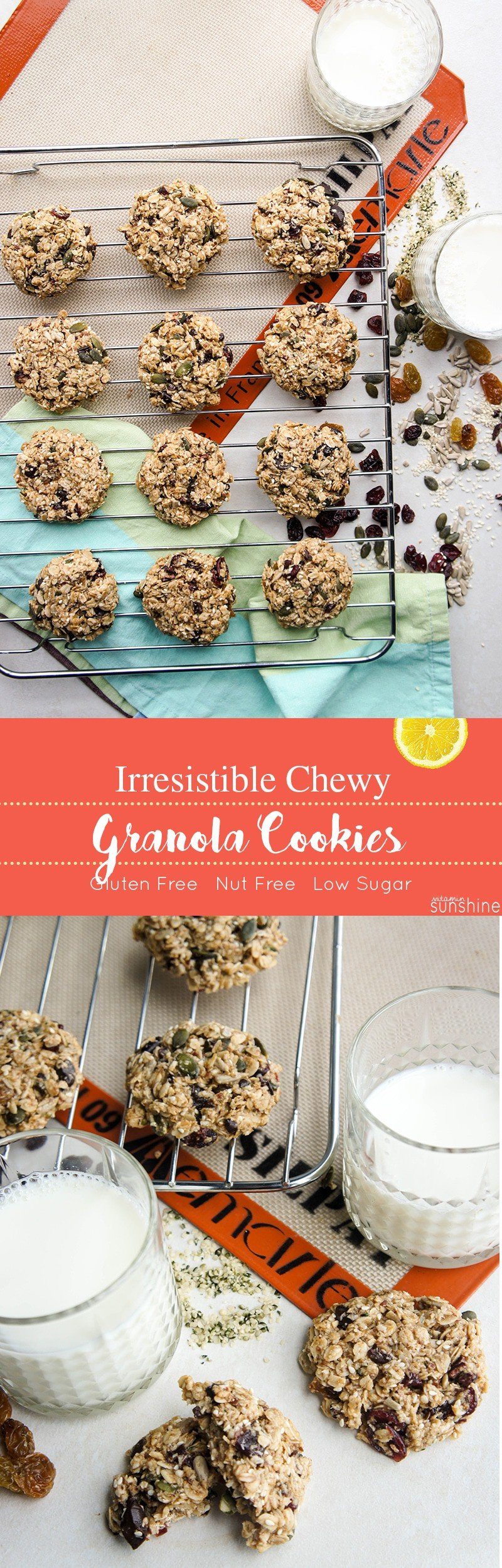 Chewy Granola Cookies / These chewy, nutrient dense cookies are absolutely IRRESISTIBLE! Nut free and gluten free, they are the perfect recipe for sharing.