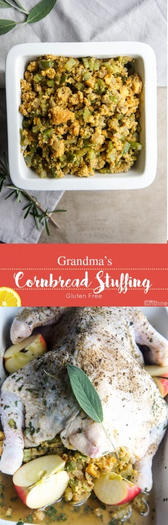 Gluten Free Cornbread Stuffing / The right stuffing makes a holiday meal! This sweet cornbread stuffing packs in tons of veggies and herbs and is so full of holiday flavor!