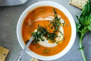 Vegan Creamy Tomato Basil Soup Recipe