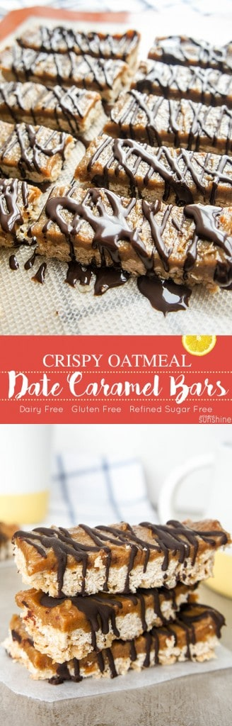 Crispy Oatmeal Date Caramel Bars / These indulgent treats are made with all healthy ingredients! Gluten free, Dairy Free, Refined Sugar Free