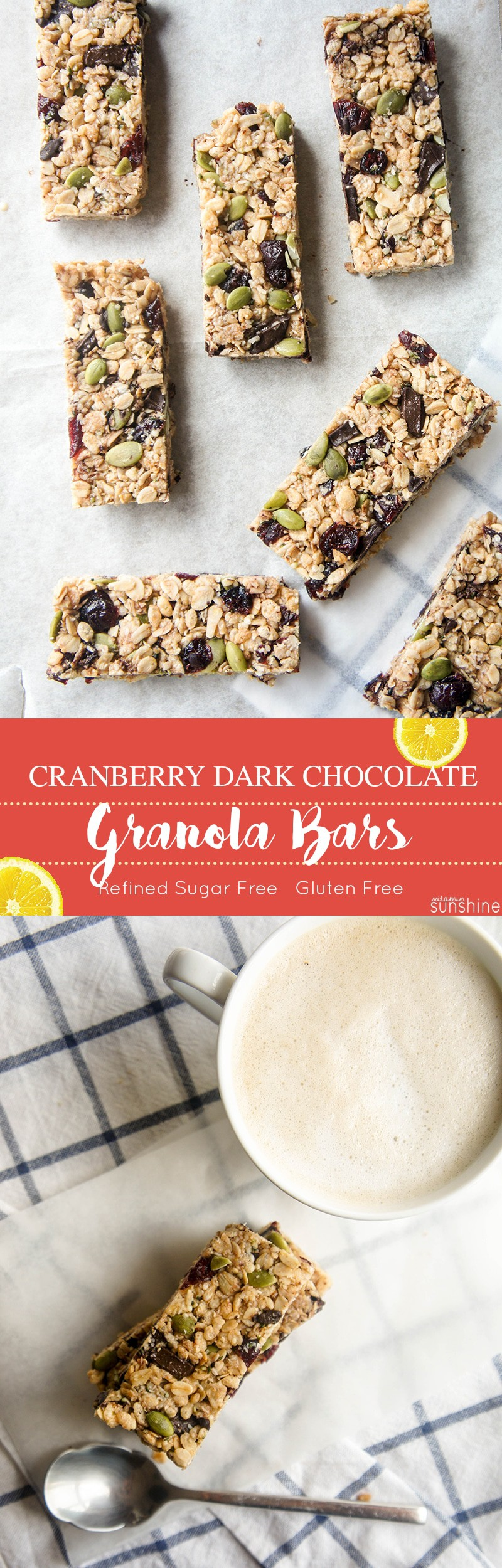 Cranberry Dark Chocolate Granola Bars / These gluten and nut free treats are packed with superfoods - oats, hemps seeds, pepitas, cranberries and dark chocolate. These delicious bars take minutes to put together!