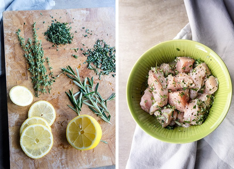 A photo with chopped herbs and lemon, and a photo of chicken pieces in a bowl.