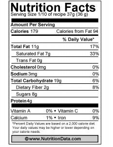 Granola Bar Nutrition Facts