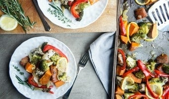 Sheet Pan Herbed Lemon Chicken and Sweet Potato Dinner