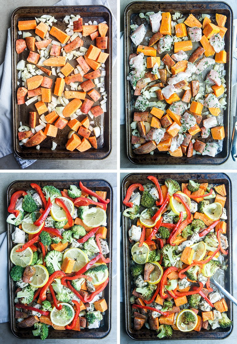 Four photos showing the process of adding ingredients to make this sheet pan dinner.