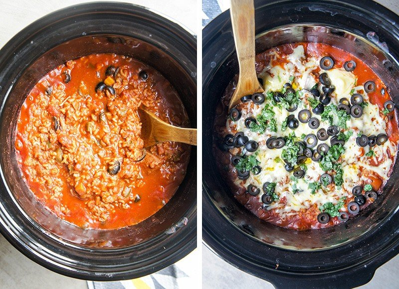 Two images showing this crockpot chicken recipe at two different stages. The first image shows the cooked chicken and rice, and the second shows it topped with cheese, olives and cilantro.
