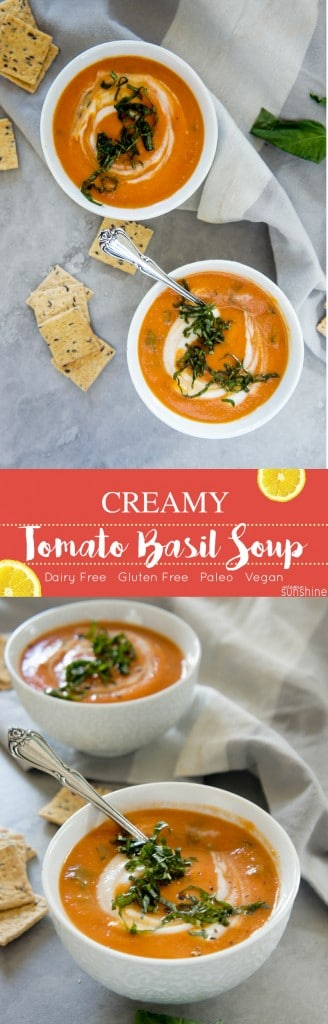 Creamy Tomato Basil Soup / This vegan and paleo warming soup is packed with 5 veggies. The perfect warm-up light meal!