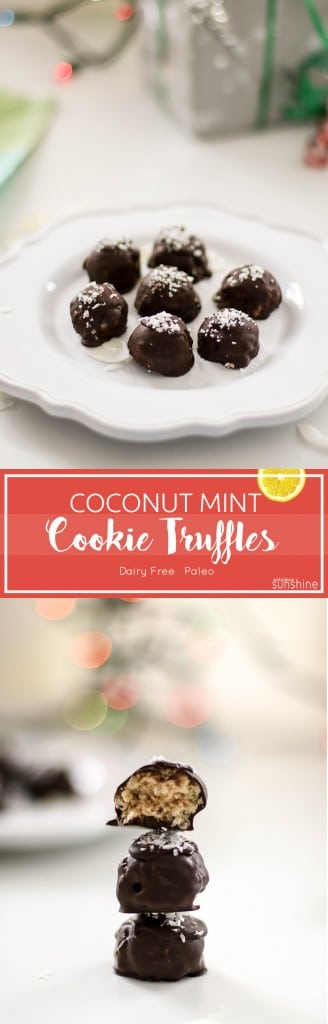 Coconut Mint Cookie Truffles / The perfect addition to your holiday offerings- crispy rice, crunchy coconut and cool mint make an irresistible filling.