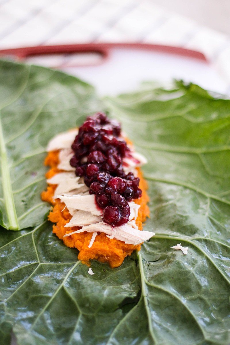 Leftover Turkey Collard Wraps / Spruce up your holiday leftovers with these healthy collard wraps.