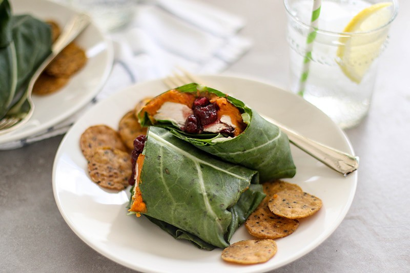 Leftover Turkey Collard Wraps