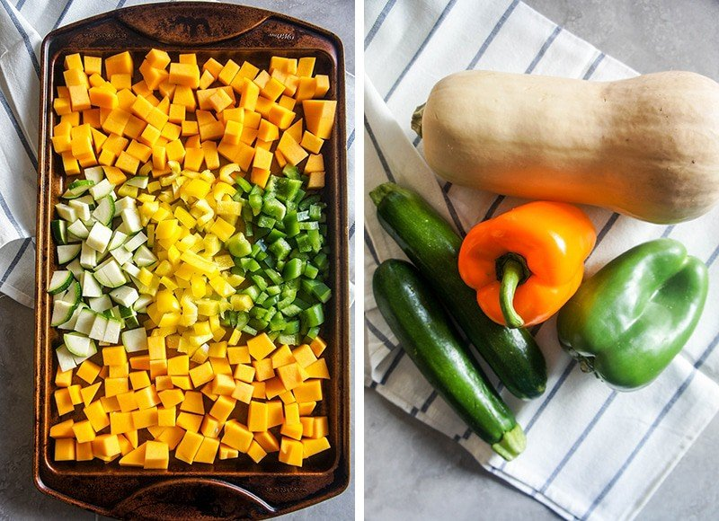 The vegetables whole, laying on a kitchen towel, next to another image showing the vegetables chopped and on a baking tray/