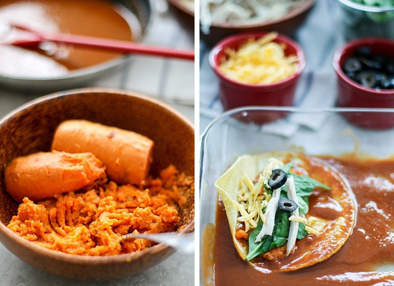 A bowl of mashed sweet potatoes, and a baking dish with enchilada sauce and a corn tortilla showing how to fill enchiladas.
