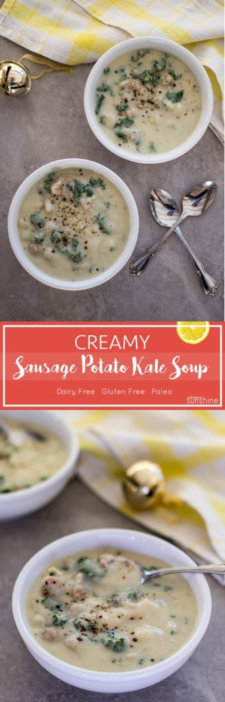 Creamy Sausage Potato Kale Soup / This ultra dreamy creamy soup is completely dairy free, and packs a ton of nutrition. A fraction of the calories of the Italian restaurant version!
