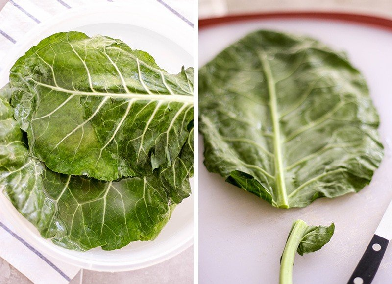 Two images showing how to soak collard greens and how to destem collards.