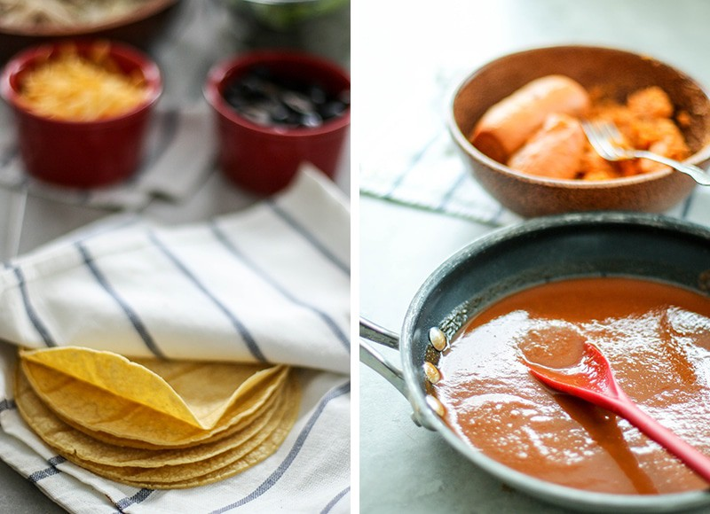 Two images showing warmed tortillas in a towel, and a pan of red enchilada sauce.
