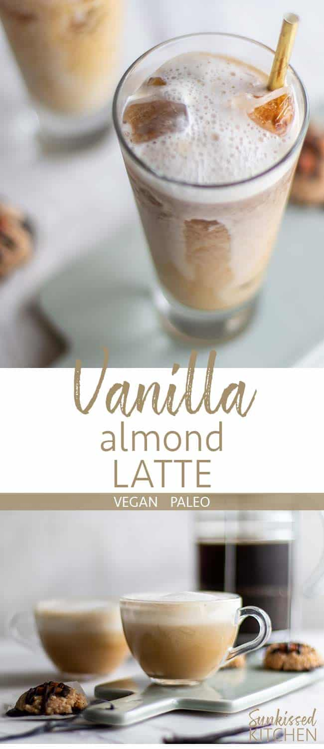 A graphic showing this healthy almond latte can be served hot or over ice.