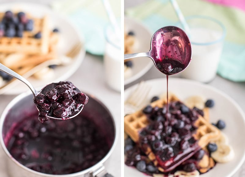 Two photos showing a pan of blueberry syrup, and a spoon drizzling syrup on a stack of waffles.
