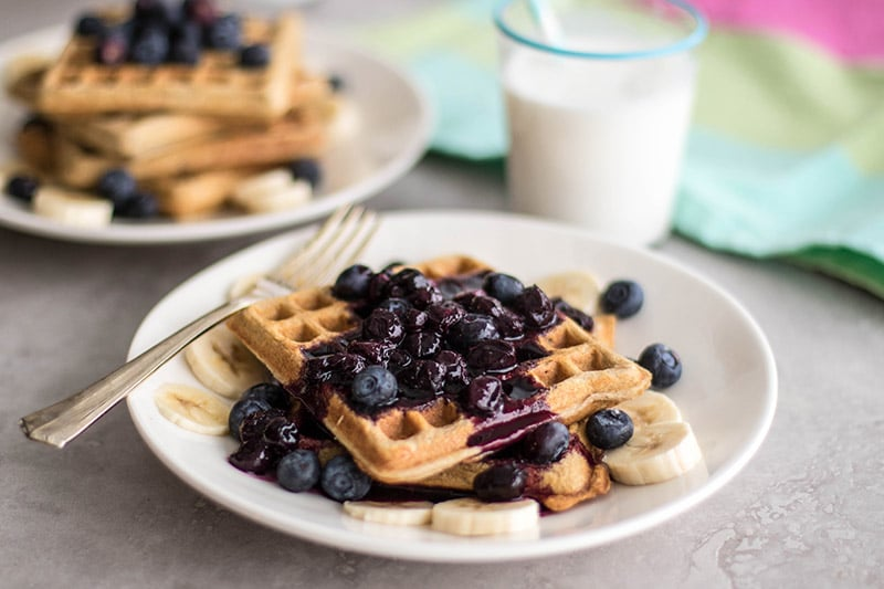 Cinnamon Oatmeal Waffles with Blueberry Sauce (Gluten Free)